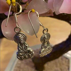 Vintage 925 Buddha earrings